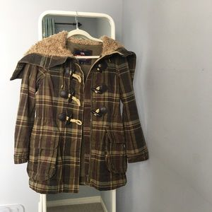 Jackets & Blazers - Military-green plaid coat